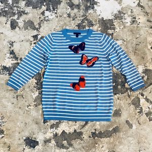J Crew Blue Striped Wool Sweater With Butterflies
